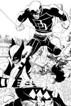 John Romita jr daredevil and wolverine by LucGrigg