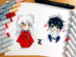 Chibi Inuyasha and L by YoungChanNguyen