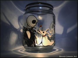 Jack Skellington and Zero Candle Holder by Bonniemarie