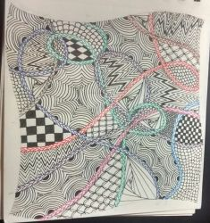 Zentangle Tile #3 by Dragonshadow3