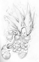 Sonic in midtransformation by BiggCaZ