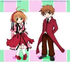 Art Trade: Sakura and Syaoran by Toriichi