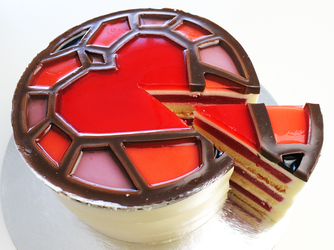DragonAge insp StainedGlass Heart Cake +Recipe+Vid by SweetMissCreation