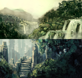 Landscape Speedpaints by NukeRooster