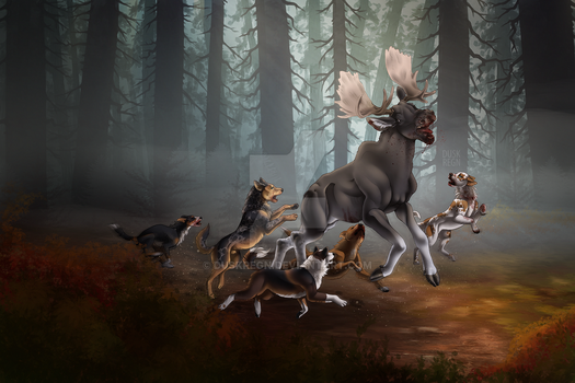 Moose Hunt by duskregn