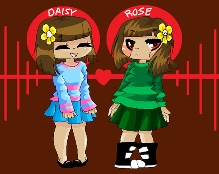 Daisy And Rose (frisk and chara, just my own ver) by venomousheart1
