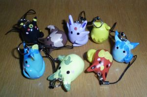 Poke-Peeps Cellphone Charm - Eevee Evolution Set 2 by UniqueTreats