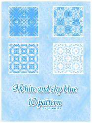 10 white and sky blue patterns by Sweet83