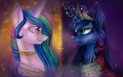 MLP Sun and Moon by Enjal