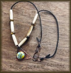 Fused Glass and Copper Necklace by bgfdesigns