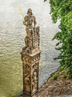 Statue on the shore of Moldau by pingallery