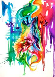 Rainbow Wolf Revamp -on Ebay- by Lucky978