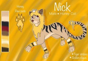 Nick honey cat-Reference sheet feral by Pinkwolfly