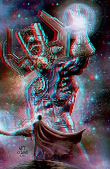 Superman Vs Galactus Anaglyph 3D by Fan2Relief3D