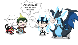 Blue Exorcist-PKMN - Not again! by LordBlackTiger666