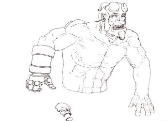 Hellboy Lineart by NoodlePhish
