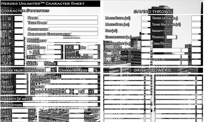 Heroes Unlimited Fillable Character Sheet by MADMANMIKE