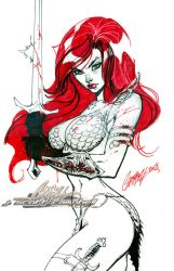 Red Sonja Con Sketch by J-Scott-Campbell