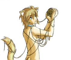 A Neko Boy With Some Yarn by mirrorblack