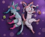 Sleepy Glaceon and Sylveon by ConejoWhite