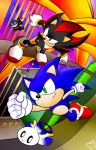 Sonic and Shadow (Lineart color) by MintStarMari