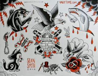 red and black tattoo flash sheet 4 by creaturetown