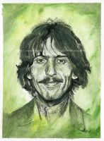 George Harrison / The Beatles - Watercolor and Ink by NateMichaels