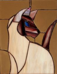 Stained Glass Siamese Cat by RamonaQ