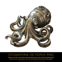 steampunk octopus png by yellowicous-stock