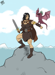 Barbarianne and her pet snorkling by SweMu