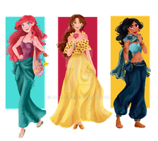 Disney Renaissance Princesses Summerwear by Andi-Tiucs