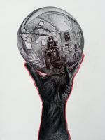 Darth Vader With Reflecting Death Star by OMKDrawings
