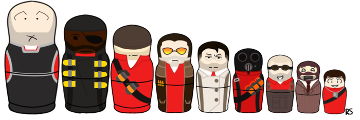 Team Fortress Nesting Dolls by Forbidden-Peace