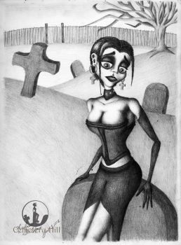 Crystal Sitting on a Tombstone (June 2008) by CemeteryHillArt