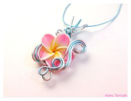Pink Plumeria Wire Wrapped Pendant by Sercive