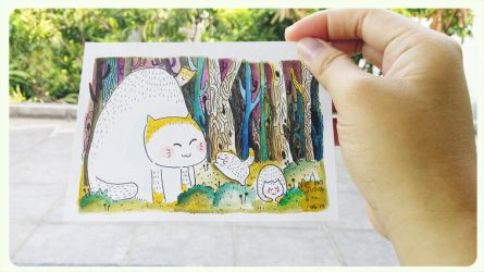 Watercolor Postcard of Cats by supperfrogg