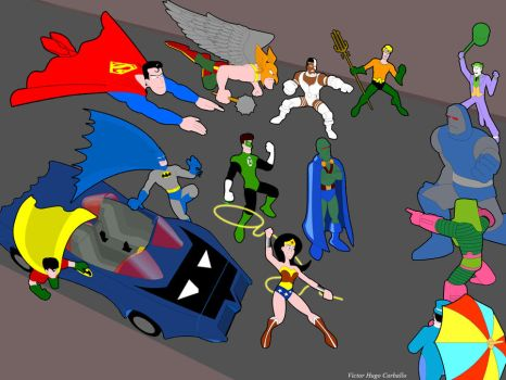 Justice League - A.K.A. the Super Powers Team by VictorHugo