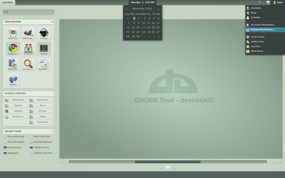 GNOME Shell deviantART by half-left