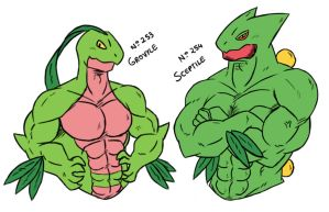 Buff Grovyle and Sceptile! by Onodera-kun