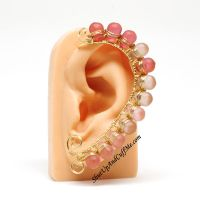 Pink Ombre Ear Wrap by Gailavira