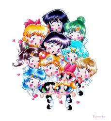 Sailor Scouts Meet the Puffs by Psyconorikan