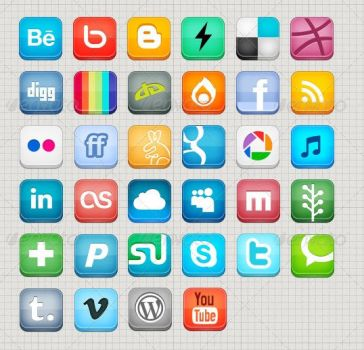 34 High Quality Social Media Icons by someic