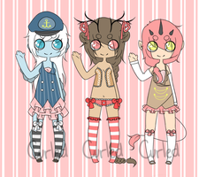{ Adoptables Set } [open] by curled-mustache