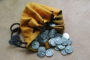 Anglo-saxon pouch and coins by Dewfooter
