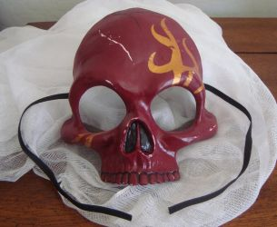 Skull Half Mask - Red and Gold Tribal Flame by Nightlyre