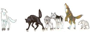 Stark Direwolves by Circecat1