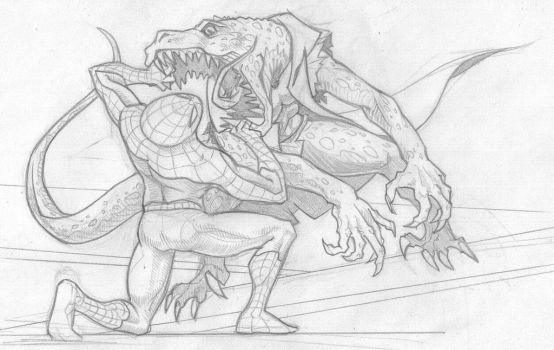 Spider vs The Lizard by Nite by Nathan123qwe