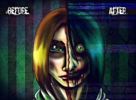 Jeff: before and after by SheWasZombie