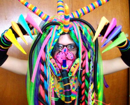 Rainbow cybergoth raver outfit - 5 by German-Blood