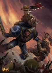 Spacemarine vs Orcs by gnugazer